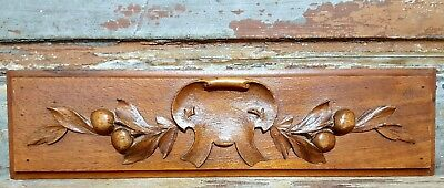 HAND CARVED WOOD PEDIMENT ANTIQUE FRENCH CARVED WOOD COAT OF ARMS CARVING b