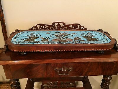 ANTIQUE VINTAGE 19th C MAHOGANY ENGLISH TEA TRAY VICTORIAN HAND BEADED TRIVET