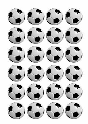 24 x SOCCER BALL Wafer Rice Paper Cupcake Toppers EDIBLE CAKE DECORATIONS Sports