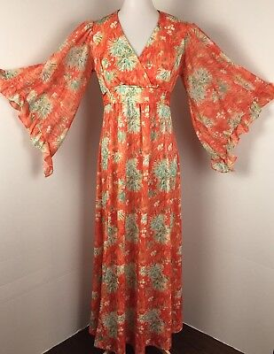 VINTAGE 70s Womens Size Small Maxi Dress Angel Sleeves Orange Green White Floral