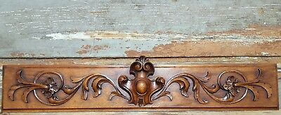 Hand Carved Wood Pediment Antique French Coat Of Arms Architectural Salvage