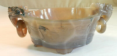 Chinese Carved Agate Bowl with Ring Handles, 19th century