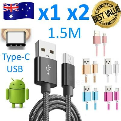 USB Type C USB Charger Cable 1.5M Charge Data Sync Braided Samsung HTC Tab Phone