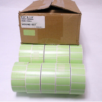 "LOT OF 10 ROLLS DIRECT THERMAL LABEL 2.0"" x 1.0"" GREEN  2580/ROLL 2"" CORE"