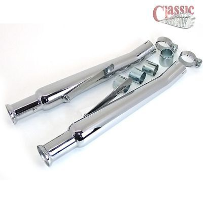 Pair Of Upswept Megaphone Exhaust Silencers Tulip Type To Classic Motorcycle