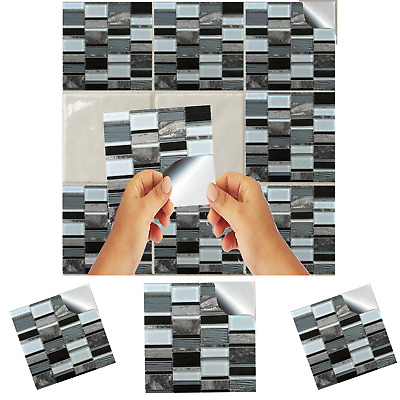 Grey Contemporary Glass Mosaic Tile Stickers Transfers Kitchen Bathroom Decal