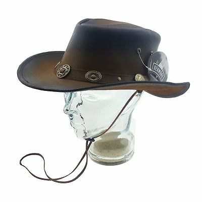 Outback Western Style Distressed Cow Leather Australian Aussie Cowboy Hat Bush