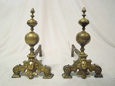 Unique Pair Dutch Antique Renaissance Brass Bronze Andirons Chenets 18th./17th.C