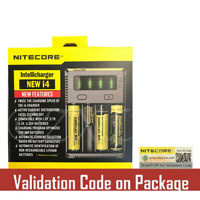 NEW 2016 NITECORE i4 Intellicharger For 18650 14500 18350 Li-ion Ni-MH & NiCd AA