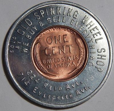 Encased GOOD LUCK Lincoln Cent Wheat Penny 1946 Unc BU *STATEN ISLAND* NY