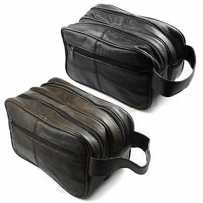 New Unisex Cowhide Leather Zipped Section toiletry travel Flight Wash Bag UK