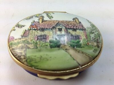 "Lovely Halcyon Days  Trinket Box ""Sulgrave Manor"" Hand Painted Artist Signed"