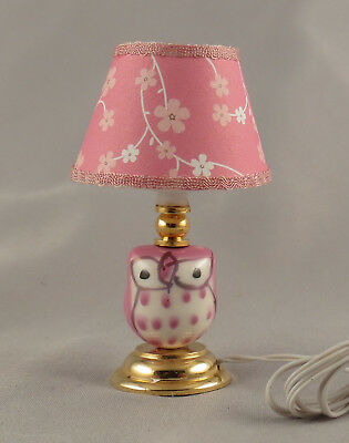 Dollhouse Miniature Owl Ceramic Table Lamp Lighted Light Pink Electric 1:12