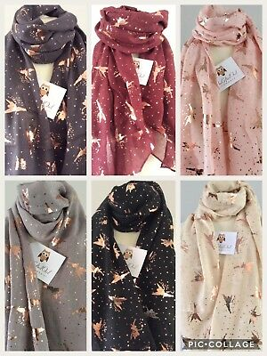 Fairies & Fairy Dust Rose Gold Foil Scarf Sister  Friend Gift Tinkerbell
