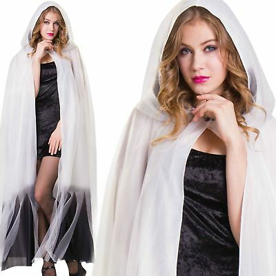 Ladies White Hooded Layered Ombre Long Cape Halloween Fancy Dress Ghost Cloak