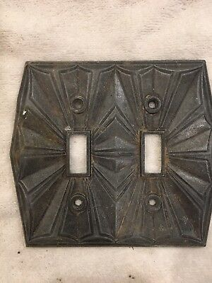 Vintage Art Deco Brass Double Toggle Switch Plate Ornate