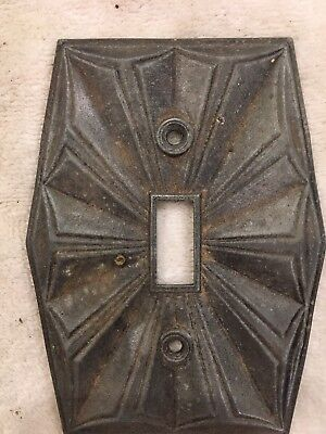 Vintage Art Deco Brass Single Toggle Switch Plate Ornate