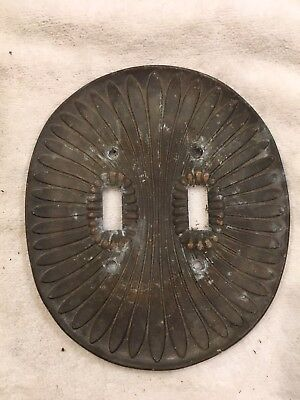 Vintage Brass Circular Scallops & Beads Double Switch Plate Mid Century Ornate