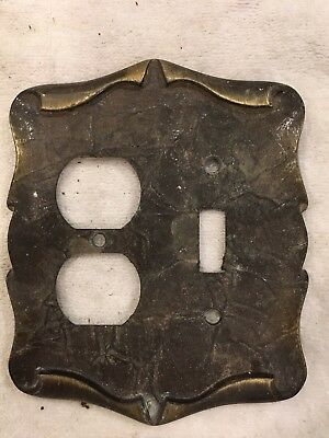Vintage Brass Switch Plate and outlet combo Scrolled Ornate Mid Century