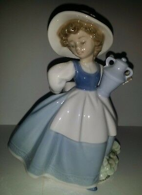 Rare Lladro Nao Girl With Urn (Vase)