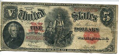 1907 Red Seal U.S. Large Size $5 Note