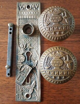 "Vintage Lockwood Brass/Bronze ""Broken Leaf"" Entry Knobs/Door Plate - Eastlake"