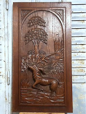 CARVED WOOD PANEL ANTIQUE FRENCH HUNTING SCENE GOTHIC CHATEAU BAS RELIEF 19th