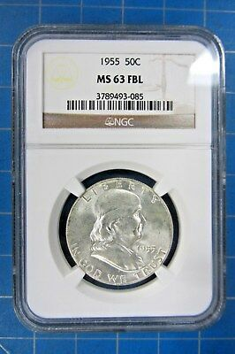 1955 Franklin Half Dollar Graded Ngc Ms 63 Fbl - Nice Coin With Full Bell Lines