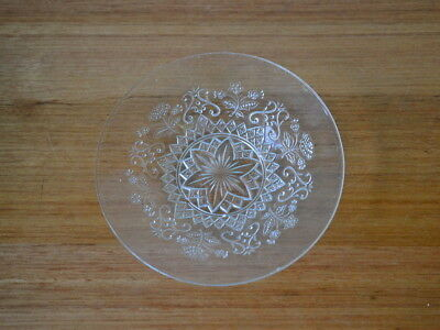 Vintage cut glass dish serving tray tableware pressed bowl etched party clear
