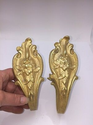 Antique Pair  French Chateau Ormolu Bronze Curtain Drapery Tie Backs Hooks