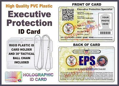 EXECUTIVE PROTECTION ID CARD (Bodyguard) **Your Photo & Info** W/ Tactical Chain
