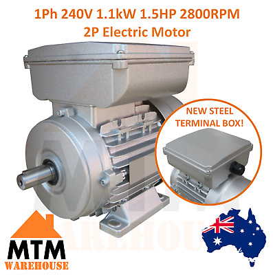 Single Phase Electric Motor 240V 1.1 kW 1.5 HP 2800rpm 2 Pole