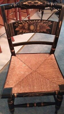Rare Vintage Hitchcock Accent / Dining Chair with Rush Seats