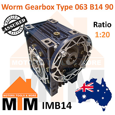 Worm Gearbox Type 63 B14 90 Input Flange 1:20 Ratio 20 Reduction