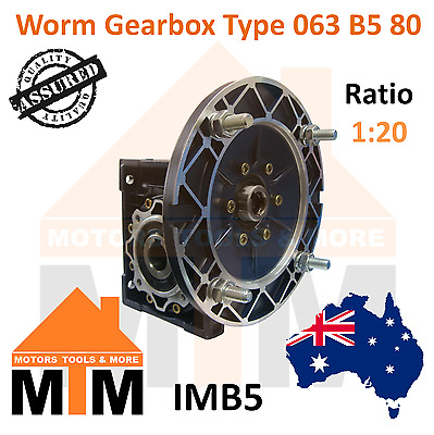 Worm Gearbox Type 63 B5 80 Input Flange 1:20 Ratio 20 Reduction