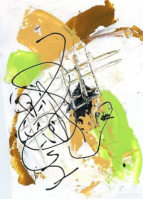 MITAK Art Signed Original *COA* Recycled Abstract Mixed Media Paper Collage Gold