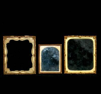 Vintage group of three decorative brass edged miniature picture frames