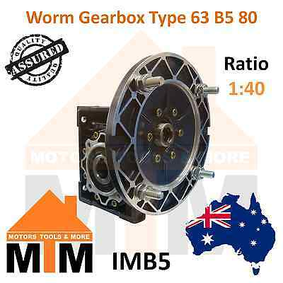 Worm Gearbox Type 63 B5 80 Input Flange 1:40 Ratio 40 Reduction