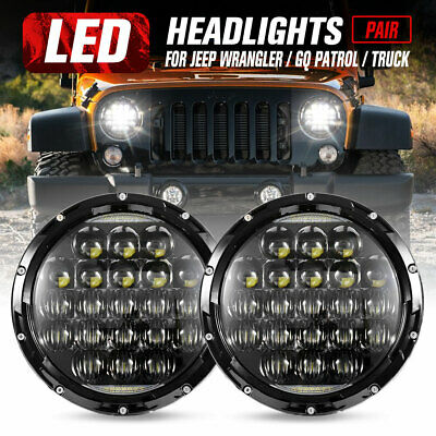 "Pair 7"" inch 200W LED Headlights For Jeep Wrangler TJ JK 97-17 DRL Insert"