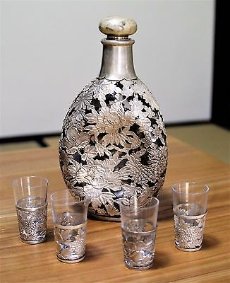 Japanese Sterling Silver Overlay Decanter Whiskey Stamped 950 Nippon Sakura
