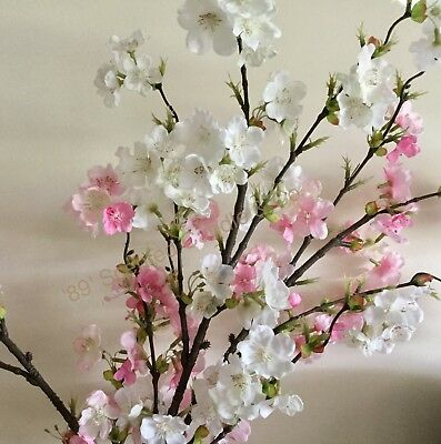 1 x White Spray Scented Cherry Blossom Silk  Artificial Fake Flower Floral Art