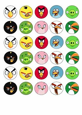 30 x ANGRY BIRDS Wafer Rice Paper Cupcake Toppers EDIBLE CAKE DECORATIONSS