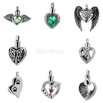 Crystal Angel Wing Heart Pendant Cremation Urn Jewelry Ash Holder for Necklace
