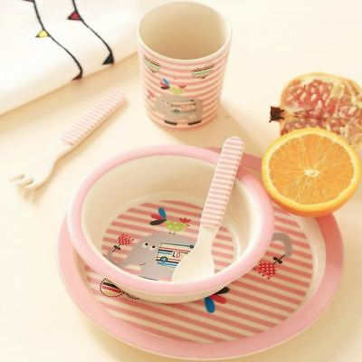 Baby Plate bow cup Forks Spoon Dinnerware feeding Set