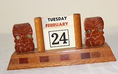 Vintage Carved Maori Wooden Tiki Perpetual Calendar Paua Shell Eyes. New Zealand