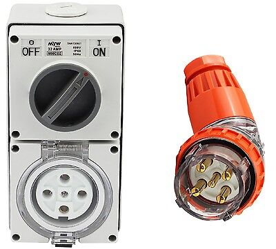 5 Pin 20 Amp 3 Phase Angled Plug & Switch Socket Outlet Combo 500V IPP66