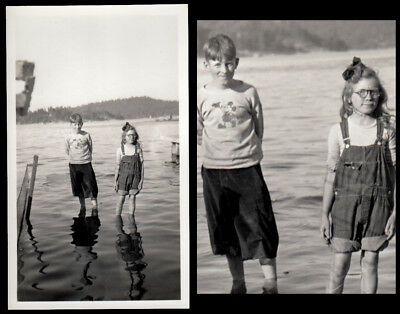 MICKEY MOUSE SHIRT BOY & GIRL STAND in CALM LAKE ~ 1930s VINTAGE DISNEY PHOTO