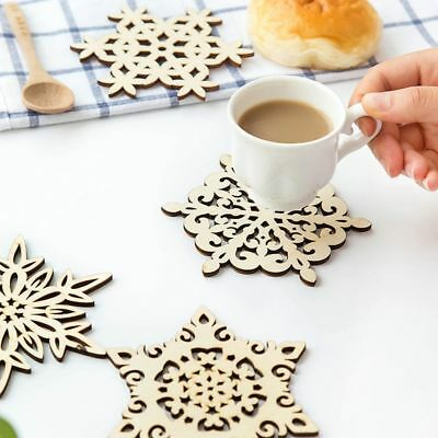 2Pcs Christmas Wooden Carved Snowflake Mug Coasters Holder Coffee Drinks Cup Mat