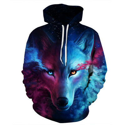 3DPrint Space Galaxy Wolf Graphics Sweatshirt Jacket Pullover Hoodie Sweater 97K