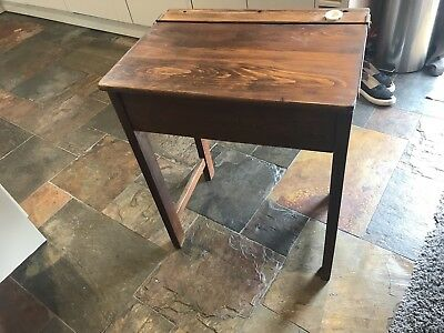 Vintage/retro antique school desk, inkwell, school chair